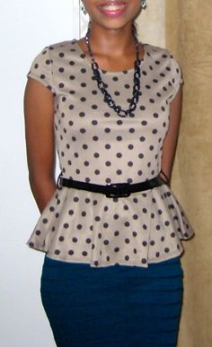 belted, polka dot peplum top and peacock blue pencil skirt