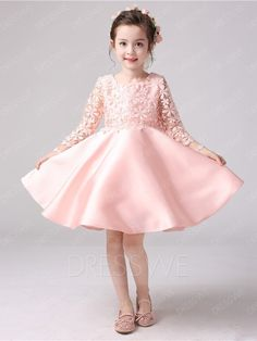 Scoop Neck Lace Long Sleeves A-Line Flower Girl Dress|Material:Matte Satin
