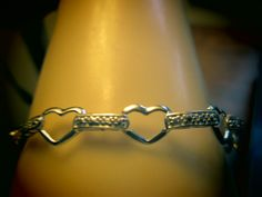 "Vintage Designer H-SI2 Genuine Diamond .01ctw 925 Sterling Silver 7"" Open Heart Bracelet Weight 5.2 g"