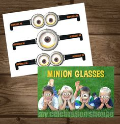 INSTANT DOWNLOAD Despicable Me Goggles - Despicable Me Birthday Party Favors - Despicable Me Party Ideas - My Celebration Shoppe