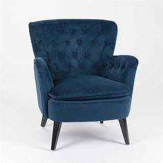 Fauteuil capitonné bleu design - Alida Fauteuil design en velours bleu (L   72cm X P  73cm X H  80cm) 8fa76cf8e41a