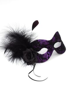 Purple | Purple & Black Lace Feather Masquerade Ball Mask - Masque Boutique