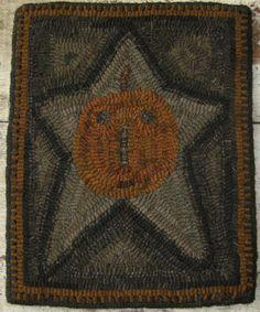 Folk Art #Primitive Hand Hooked Star Jack O' Lantern #Rug,  Love the colors!