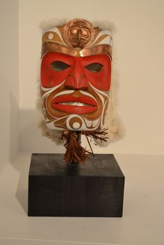 Copper Chief Mask by Rande Cook. Red cedar, copper, abalone, acrylic paint, rabbit fur. Fazakas Gallery is a Vancouver Art Gallery with exciting works from Contemporary Artists from diverse backgrounds and cultures.  www.fazakasgallery.com