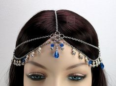 Thora+Sapphire+headchain+chain+maille+by+BeadedPointOfView+on+Etsy