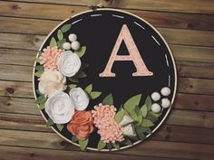 "10"" Hoop with Felt Flowers and Letter by FleurDeGraceShop on Etsy https://www.etsy.com/listing/510281301/10-hoop-with-felt-flowers-and-letter"