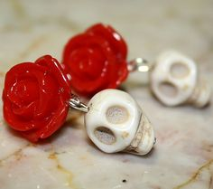 Day of the Dead Romantic Red Rose Earrings. Absolutely beautiful (& cheap)! <3
