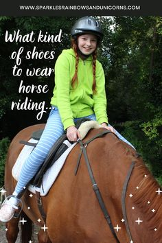 You may have shoes in your closet you can wear for horse riding... or not. Find out what kind of shoes are acceptable to use when riding horses. #horseriding #firstimehorseriding #firstridinglesson #horsebackriding Riding Horses, Kinds Of Shoes, Horseback Riding, Equestrian, Riding Helmets, Group, Board, How To Wear, Closet