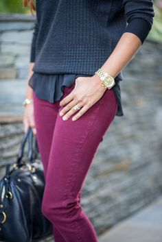 Plaid sweater and burgundy jeans  www.plogstyle.com