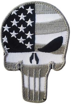"""Amazon.com: [Single Count] Custom, Cool & Awesome {3.5"""" x 2.5"""" Inches} Small Patriotic Stars And Horizontal Stripes American Flag Punisher Skull (Swat Type) Velcro Patch """"White, Gray & Black"""": Arts, Crafts & Sewing"""