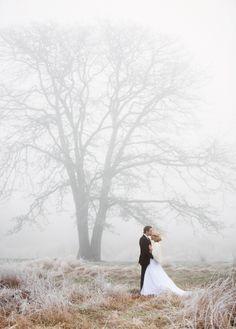 Misty Winter Wedding Portraits | Chloe Photography | http://heyweddinglady.com/ethereal-gray-winter-wedding-ideas/