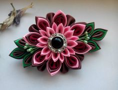 French Barrette Kanzashi flower/Fabric flower от AirinFlowers