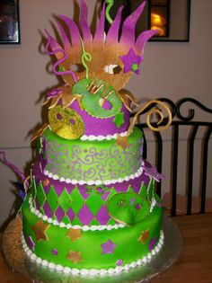 - my daughters 5th grade class has an end of the year social, and the theme this year is mardi Gras. So here is the cake. Covered in fondant, with fondant and pastillage decorations. the masks are al hand painted. It took a while, but it was fun. enjoy!