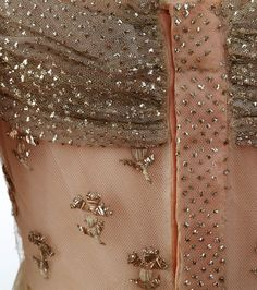 Court dress attributed to Empress Josephine, after 1810 From the Chateau de Malmaision Costume Collection.  Metal embroidery on tulle. Similar stitches in places to Assuit.