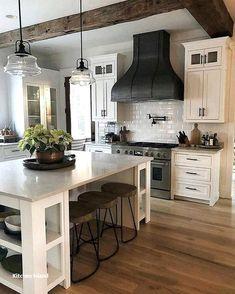ideas for farmhouse kitchen island decor open shelves Farmhouse Kitchen Island, Kitchen Island Decor, Modern Farmhouse Kitchens, Home Decor Kitchen, Kitchen Styling, New Kitchen, Home Kitchens, Kitchen Ideas, Kitchen Islands