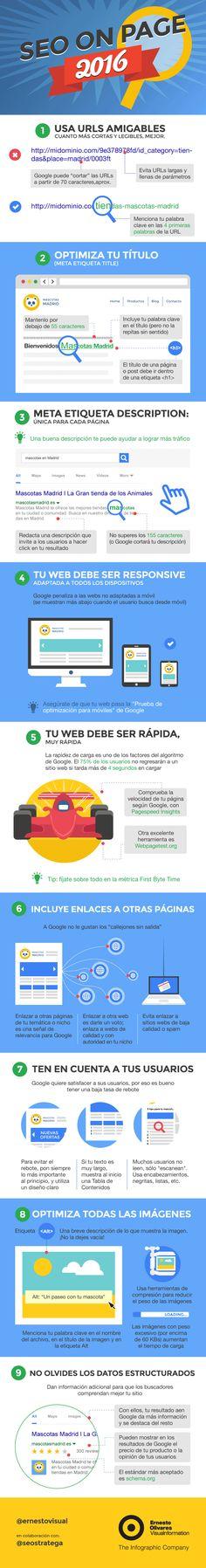Hola: Una infografía sobre Qué es el SEO On Page. Un saludo Infografía por: Ernesto Olivares Visual Information