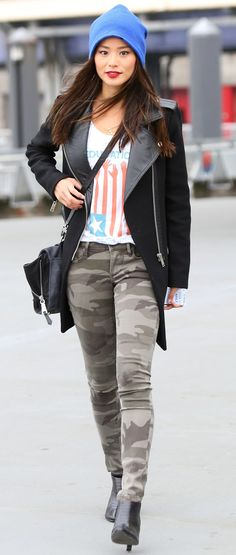 Jamie Chung in our Plush Barca Slouchy Hat