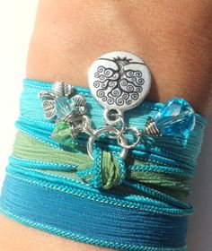 Tree of Life Silk Wrap Bracelet Hand Dyed by BohemianEarthDesigns