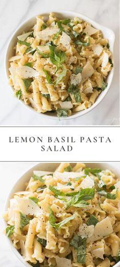 An easy Lemon Basil Pasta Salad recipe that's light and refreshing. – Julie Blanner An easy Lemon Basil Pasta Salad recipe that's light and refreshing. An easy Lemon Basil Pasta Salad recipe that's light and refreshing. Vegetarian Recipes, Cooking Recipes, Healthy Recipes, Vegetarian Pasta Salad, Quinoa Salad, Fruit Salad, Bean Salad, Tasty Pasta Recipes, Pasta Recipes For Lunch