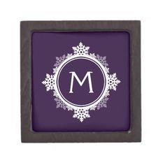 Snowflake Wreath Monogram in Dark Purple & White Premium Gift Box