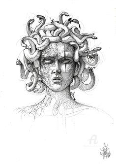 Dark Art Drawings, Art Drawings Sketches, Tattoo Sketches, Tattoo Drawings, Ink Illustrations, Medusa Drawing, Medusa Art, Medusa Tattoo Design, Arte Sketchbook