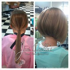Child's short bob haircut by Terra Almendarez. #Aveda #Avedacolor