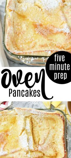 German Oven Pancakes - a family favorite only 5 minutes to prep so good! Breakfast Dishes, Breakfast Recipes, Sunday Breakfast, Oven Pancakes, Waffles, Keto Pancakes, German Pancakes Recipe, Glass Baking Dish, Brunch Recipes