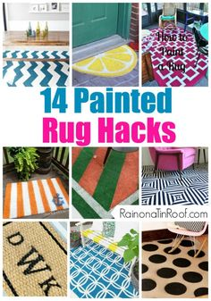 Don't want to pay the high price for a beautiful rug? Paint a basic rug with ideas from these rug hacks for a fraction of the price. 14 Painted Rug Hacks via RainonaTinRoof.com