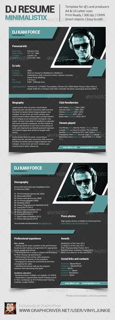 Dj and Musician Press Kit \/ Resume Template Press kits - dj resume