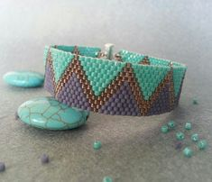 Purple and Turquoise Peyote Bracelet -Beadwork Bracelet- Beadwoven