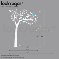 Bird Tree Wall Decal for Baby Nursery  0068 by looksugarkids, $78.00