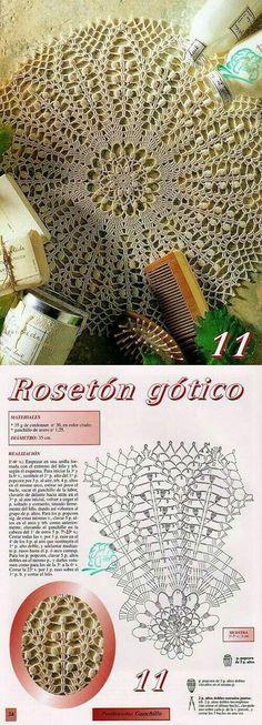 Crochet Doily Diagram, Crochet Doily Patterns, Thread Crochet, Crochet Designs, Rug Patterns, Crochet Home, Crochet Crafts, Crochet Projects, Diy Crafts