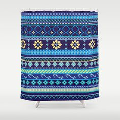 Cheery Blues Geometric Pattern Shower Curtain
