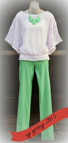 mint skinnies and textured white top UG Boutique