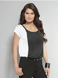 New York & Company - Black & White Colorblock Blouse
