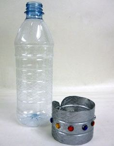 Kids will have fun making these cuff bracelets to wear or give as gifts. Simply cut a ring from an old plastic water bottle, paint, and add some self-stick jewels.