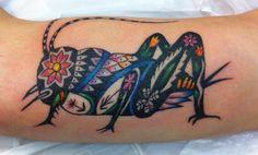 Los tatuajes de saltamontes, un símbolo de nobleza - http://www.tatuantes.com/tatuajes-de-saltamontes-significado/ #tattoo