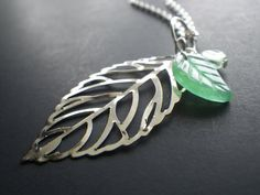 Spring Leaf Necklace 18 INCH Tree Leaves Nature by CassieVision