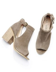 Taupe suede cutout block heel booties by Sole Society//