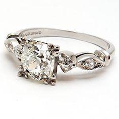 1920's Art Deco Antique Diamond Engagement Ring Solid Platinum