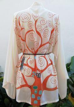 #handpainted # silk #kimono corto (#hippari). Árbol de la ciencia de Gustav #Klimt
