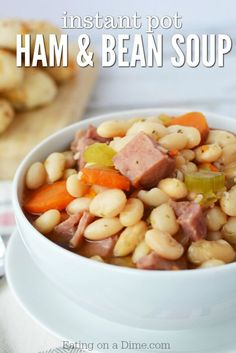 Try this hearty ham and bean soup crock pot recipe. Slow Cooker ham and bean soup is quick and easy. Crock pot ham and beans will be a hit with the family! Slow Cooker, Easy Pressure Cooker Recipes, Instant Pot Pressure Cooker, Pressure Cooking, Bean Soup Recipes, Crockpot Recipes, Cooking Recipes, Cooking Ham, Delicious Recipes