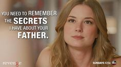 Emily speaking to Margo Revenge Quotes, Emily Thorne, He Is Alive, Emily Vancamp, Great Tv Shows, Found Out, Movies And Tv Shows, The Secret, Father