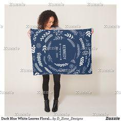 Dark Blue White Leaves Floral Monogram Pattern Fleece Blanket Dark Blue, Blue And White, Blanket Design, White Leaf, Edge Stitch, Outdoor Events, Delicate, Monogram, Leaves