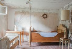 Berlin-based artist cottage in rural Germany is full of simple yet meaningful items, like the vintage crib from her sister and bed frame from her late friend that furnish the downstairs bedroom. See more of the house today on Remodelista. Interior Design Tips, Interior And Exterior, Interior Inspiration, Design Inspiration, Vintage Crib, Thing 1, Cozy Cottage, Rustic Furniture, Bed Frame