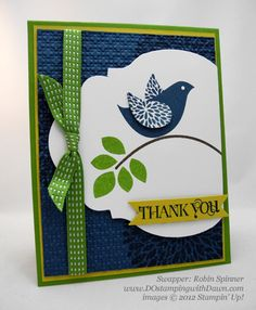 Betsys-Blossoms---Robin Spinner of Dawn Olchefske's DOstampinSTARS.  This card is a great example of using color rules-one major color with smaller amts. of others, even if you like ALL of them.  Robin has used several stamps in this set-I almost didn't see the big flower stamped onto the background paper.