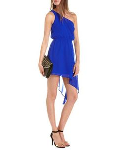 One Shoulder Asymmetrical Hem Dress: Charlotte Russe