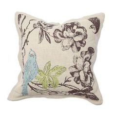 """Invite fresh spring flair into your home with this eye-catching pillow, adding a pop of style to your sofa, settee, or master bed. Product: Pillow  Construction Material: Linen and cotton cover, and feather down fillColor: Multi   Features:  Print on front and back  Insert included   Dimensions: 18"""" x 18""""    Shipping: This item ships small parcelExpected Arrival Date: Between 04/13/2013 and 04/21/2013Return Policy: This item is final sale and cannot be returned"""