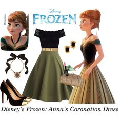 """Disney's Frozen: Anna's Coronation Dress"" by turquoiseivy on Polyvore"