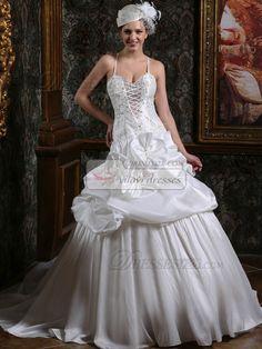 $378.89 Royal Princess Taffeta Spaghetti Straps Court Train low-cut Wedding Dresses with Flowers #wedding #dresses#online